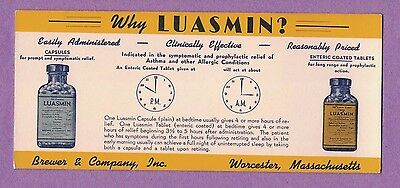 417T Vtg Blotter Luasmin Capsules & Tablets For Asthma  Brewer & Co Worcester Ma