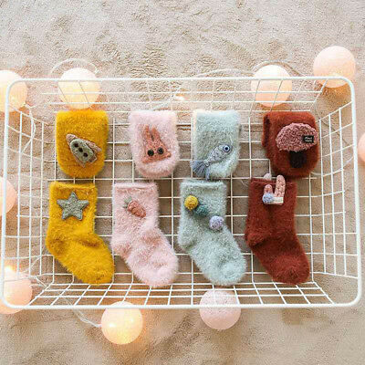 Kids Infant Toddler Cute Unisex Baby Rabbit Cartoon solid Anti-Slip Warm Socks