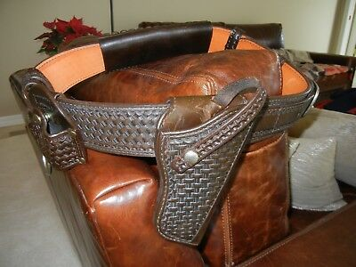 Vintage Heavy Leather Basket Weave Police Style Gun Belt and Holster