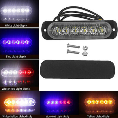 Ultra-Slim LED 18W Lights 12V-24V 6LEDs Car Emergency Truck Side Strobe Warning