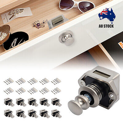 10x Drawer Cupboard Door Button Push Catch Locks RV Caravan Cabinet Latch Knob