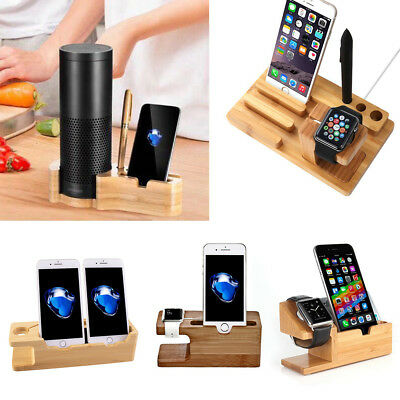 Bamboo Charging Dock Station Charger Holder Stand For Apple Watch iPhone iPad