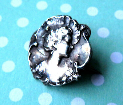 Antique Tiny Art Nouveau Silver Lady Head ,poppy Border  Brooch