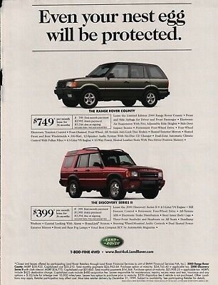 1999 Land Rover Range Rover County & Discovery Series II Vintage Photo Print Ad