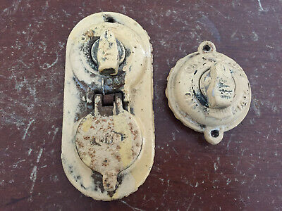 Antique Vintage Cast Iron Australian Light On Off Switches Sockets Powco 10A