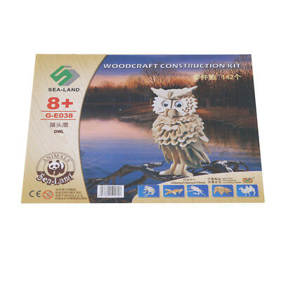 Owl DIY 3D Jigsaw Wooden Decor Model Construction Kit Toy Puzzle 8C