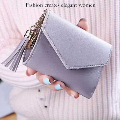 Women's Short Small Wallet Lady Leather Folding Coin Card Holder Money Purse CHZ
