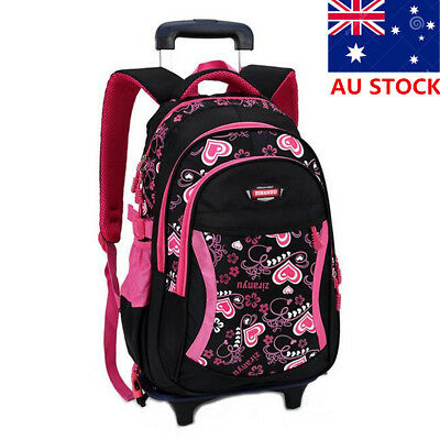 Kids Trolley Large Backpack Student School Detachable Luggage Bag With Wheels