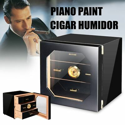Black 3-Drawers Cedar Wood Lined Cigar Humidor Case With Humidifier Hygrometer