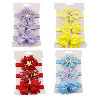 3 Pcs Baby Girls Infant Toddler Flower Bow Headband Hair Band Headwear