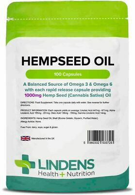 Hempseed Oil 1000mg 100 Capsules Lindens Health + Nutrition (3725)