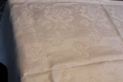 Vintage Snow White Linen Damask Tablecloth Roses Large and Small 60x60 4S Hem