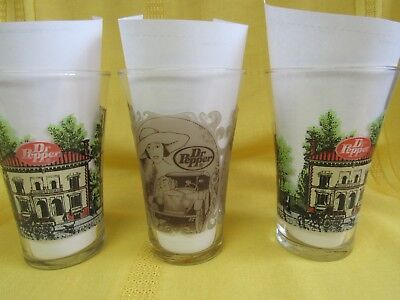 "VINTAGE~Lot of 3 pcs -""Dr Pepper"" Tumbler / Glasses- Nice !! Free shipping"