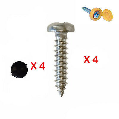 4X Number Plate Self Tapping Screws And Caps Fitting Fixing Kit Car - Quality*