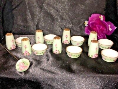 Victorian Porcelain Hand Painted Roses On Light Green 7 Salts/pepper Sets W Pin
