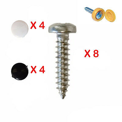 8X Number Plate Self Tapping Screws And Caps Fitting Fixing Kit Car - Quality*