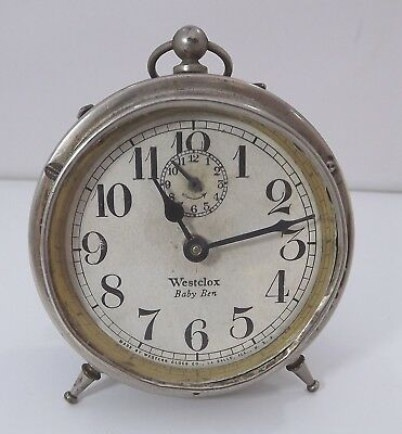 Vintage 1920s Westclox Baby Ben Travel Alarm Clock, Style 1 - Needs Some TLC