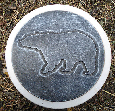 Round Bear on Log Stepping Stone Plaster or Concrete Mold 1011 Moldcreations
