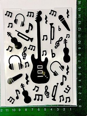 SIMPLE CRAFTS EMBOSSING FOLDER 14.5cm X 10.5cm ~GUITARS & MUSIC NOTES