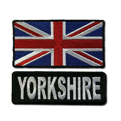 "Embroidered 3"" Yorkshire With UK Flag Sew or Iron on Patch Biker Patch Set"