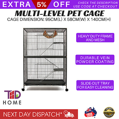 4 Level Ferret Bird Cage Cat Hamster Rat Budgie Pet Aviary Large Cages On Wheels