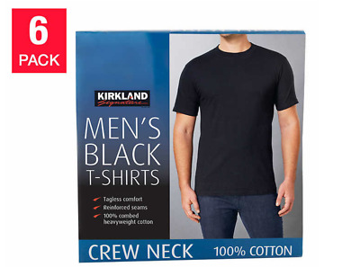 NEW 6 pack of Kirkland T Shirts men's Black Crew Neck 100% Cotton Tees PICK SIZE