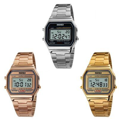 SKMEI Stainless Steel  Wrist Watch Digital Alarm Stopwatch 3ATM Water Resist US
