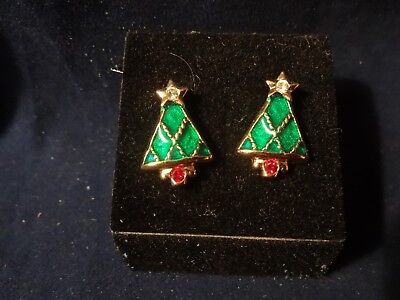 New Old Stock Avon Holiday Christmas Tree Post Earrings / Surgical Steel Posts