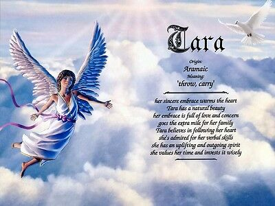 """""""Flying Angel"""" Name Meaning Prints Personalized (Religious, Christian)"""