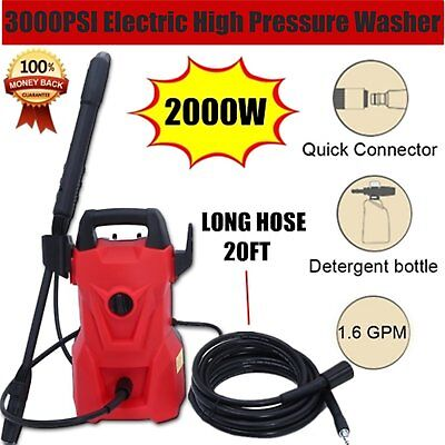 Electric Washer 3000 PSI 2000W 1.6 GPM High Pressure Washer Built-In Detergent
