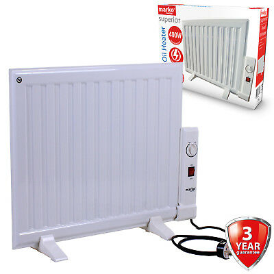400W Panel Heater Oil Filled Radiator Freestanding Home Electric Fire Thermostat