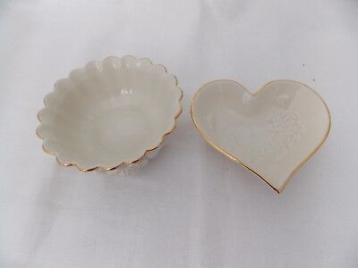 2 Small Lenox Decorative Candy/Nut Dishes- Rose Pattern Ivory with Gold Trim