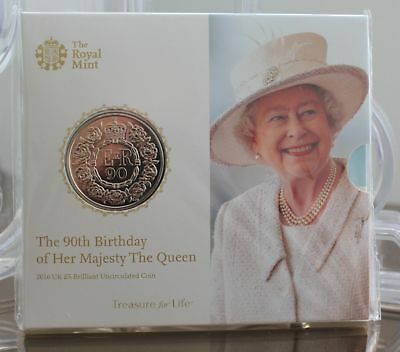 The Queen's 90th Birthday 2016 UK £5 Five Pounds - Crown - BU coin pack - Sealed