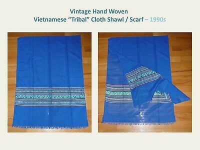"Vintage Hand Woven Scarf by Vietnamese ""Ethnic"" people (1990s) - New/ MINT"