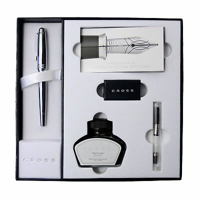 Cross Bailey Pure Chrome Fountain Pen with Premium box and Ink set