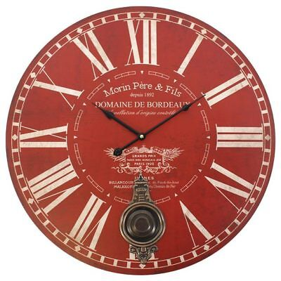 Large Red Morin Pere & Fils Wall Clock Pendulum