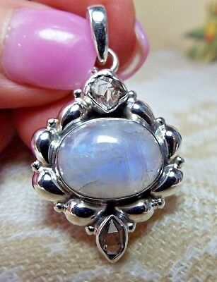 "* MOONSTONE AND HERKIMER ""DIAMOND"" QUARTZ PENDANT * .925 Solid Sterling Silver"