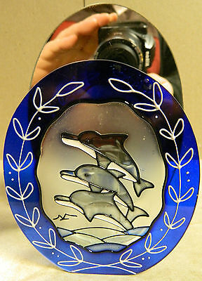 """DOLPHIN Votive Candle Holder Painted Glass Mirror Backed 5.75"""" x 4"""" x 2.25"""""""