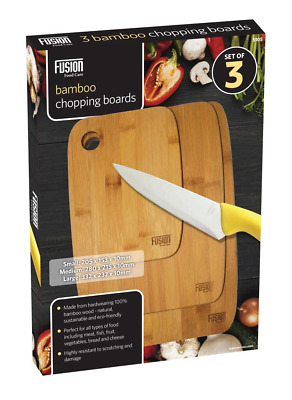 Set of 3 Bamboo Chopping Cutting Slicing Board Cheese Vegetable Serving Tray
