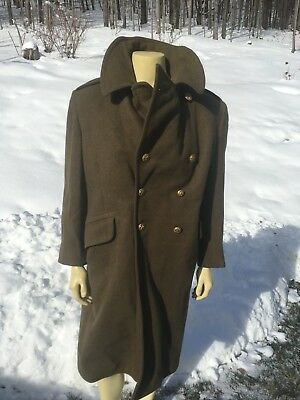 Vintage Wool Heavy Green Army Coat Quilted Lining Worn Brass Buttons Hipster Hot