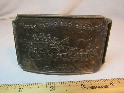 Antique Wells Fargo And Company Brass Belt Buckle Bank Collectible Stagecoach