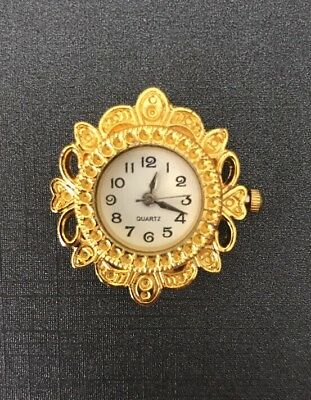 Miniature Working Clock - Gold - Vintage - Antique- Dolls house - Limited
