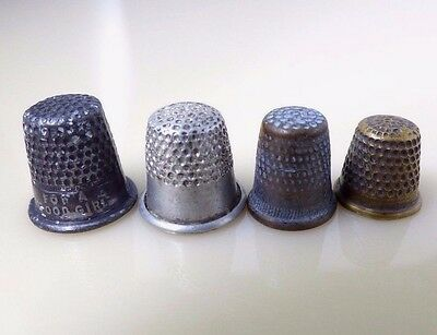 Vintage Miniature Silver Gold Pewter Metal Thimbles Set of 4 For A Good Girl
