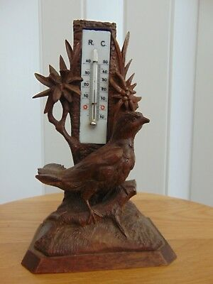 Antique Black Forest Hand Carved Wooden Thermometer - Bird Eidelweiss
