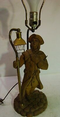 Vintage Hand Carved Wood Lamp Colonial Town Crier Paul Revere Figure, 2 Lights
