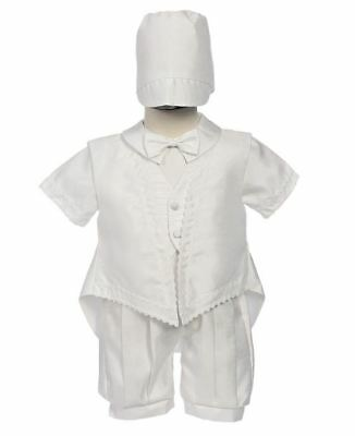 212223c03 Baby Boys White Shantung Romper 3 Pc 3-6 M Outfit Suit Christening Baptism  Hat