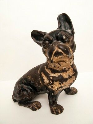 Antique Authentic Hubley Cast Iron French Bulldog Doorstop - REDUCED !!!