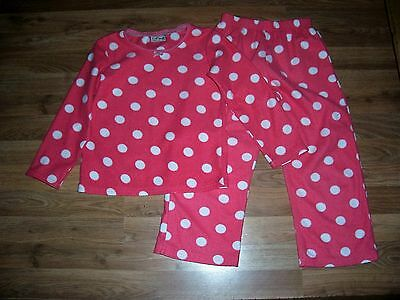 next girls pink & white spotted pyjamas age 6 years