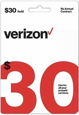 Verizon Wireless $30 Refill Airtime Card for Verizon Prepaid Service *Email Only