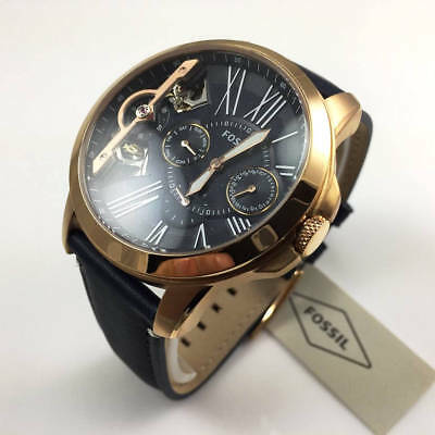 012ce3817 MEN'S FOSSIL GRANT Blue Leather Strap Automatic Watch ME1162 ...